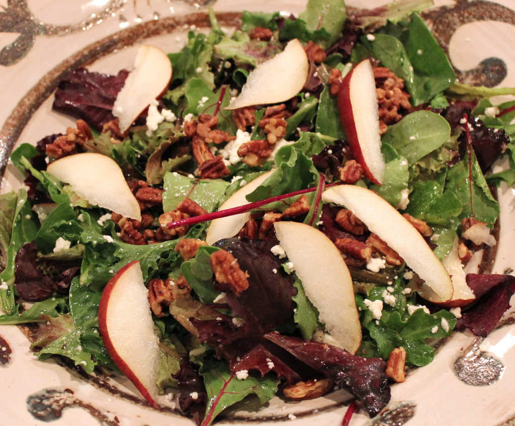 field greens with red pears, feta and glazed pecans