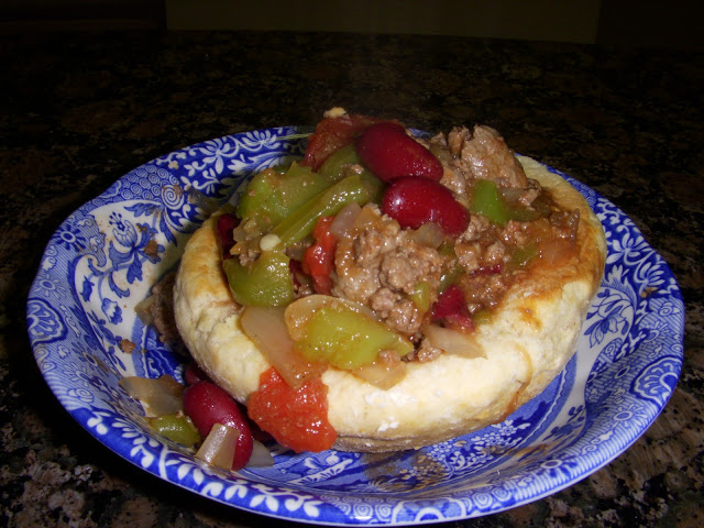 chili in a biscuit bowl