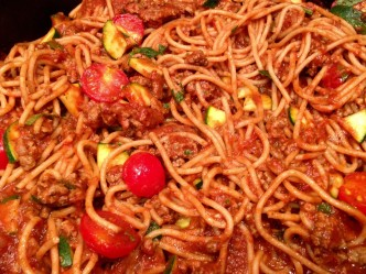 Spicy Spaghetti with Beef & Vegetables